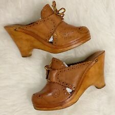 1970s Made In Brasil Wooden And Leather Clogs Small Size