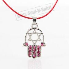 """HAMSA ROJO """"Estrella de David"""" Cristales Collar tono ROJO Amuleto colgante"""