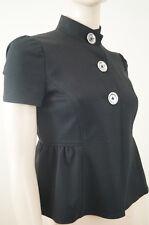 MICHAEL KORS Black High Neck Silver Button Short Sleeve Blouse Jacket Top Sz:S/P