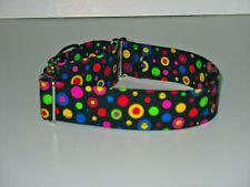 "1.5"" Martingale Collar Big Bright Polka Dots on Black"