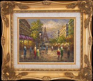 1949's Paris Street Scene~Original Oil Painting+Wood Frame
