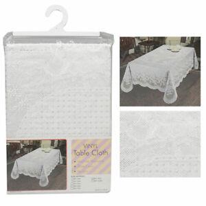 Floral Lace Tablecloth Plastic White Banquet Party Table Cover Vinyl 60 X 90