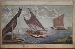 TONGA ISLAND NATIVE BOATS 1786 HOGG ANTIQUE ORIGINAL COPPER ENGRAVED PLATE