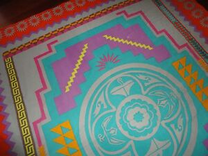 URBAN OUTFITTERS BOHO BURST ORANGE PURPLE TURQUOISE FULL QUEEN FLAT SHEET COVER