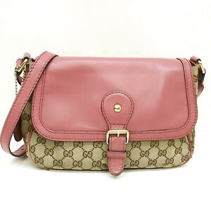 Auth GUCCI SUKEY GG Pattern Canvas Shoulder Bag Purse Pink Beige 308452 525040