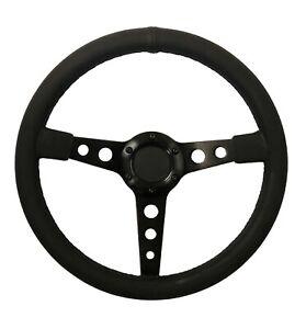 "Steering Wheel 13"" Black Leather, Black Spars (350mm OD) Kit Car Race STR"