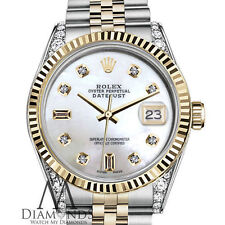 Rolex 31mm Datejust 18K & SS White MOP Mother Of Pearl 8+2 Diamond Watch