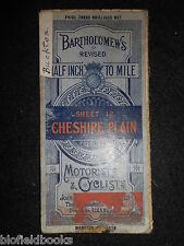 Bartholomew's Revised Half Inch Map; Cheshire Plain - c1915 - Motorists/Cyclists