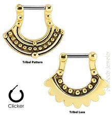 Ion Plated Surgical Steel (Choose Style) 16G (1.2mm) Tribal Septum Clicker Gold