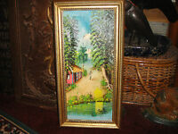 Haitian Cuban Oil On Canvas Painting Signed Capellias Island Scene Framed