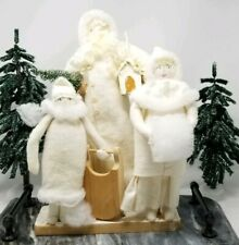 Rustic Woodland White Christmas Figures Family Sled Tree Gifts Decor