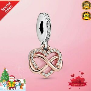 Real 925 Sterling Silver Sparkling Infinity Heart Dangle Charm Christmas Gift