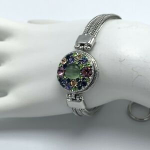 Ginger Snaps Multi Chain Toggle Bracelet With Rhinestone Snap