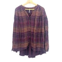 Size Small Free People Plaid Shirt Womens Long Sleeve Buttons Red Striped C040