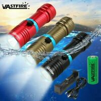 Waterproof 10000LM T6 LED Scuba Diving Flashlight Torch Underwater 100m 26650