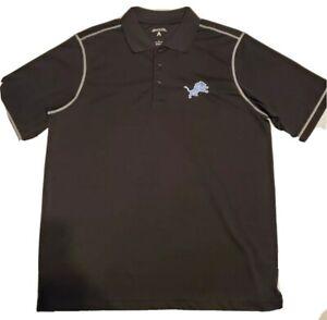 Men's Large Official NFL Detroit Lions Black Antigua Icon Polo Shirt $55