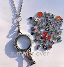 Floating Living Charm Locket Lanyard ID Badge Holder Jewelry + 50 charms random
