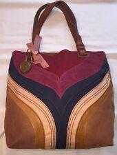 FOSSIL LONG LIVE  Multi Color Patchwork Vtg Canvas/suede/Leather Trim  Tote  Bag