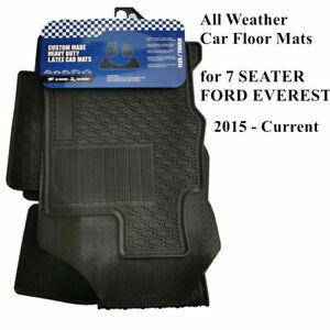 Heavy Duty 100% Waterproof Rubber Floor Mats for FORD EVEREST 7 Seat 2015 - 2020