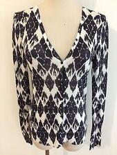 Ann Taylor LOFT Gauzy Cardigan Sweater Black/Dark Gray & White Ramie/Rayon Sz XS