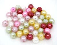 300 Mix Rund Acryl Perlen Beads Kunststoffperlen Kugeln Wachsperlen 8mm