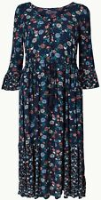 M&S Navy Floral Drawcord Relaxed Midi Dress | Size 16