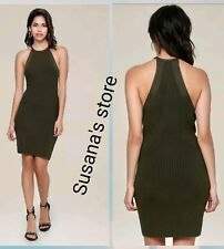 NWT bebe Knit Halter Dress SIZE L Gorgeous and sexy, rib detailed $102
