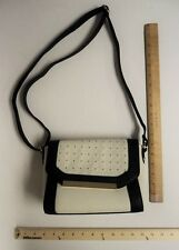 APT 9 Black & White Gold Studded Hand Bag Purse Style Cross Tote - FLASH SALE