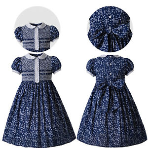 Pettigirl Navy Blue Girls Smocked Dresses Christening Pageant Outfits Size 3-12