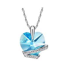 New Blue Swarovski Element Crystal Czech Rhinestones Heart Love Necklace Pendant