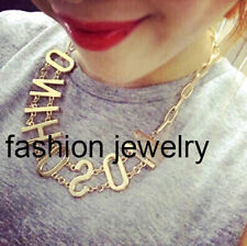 New Fashion Big Gold Letters Chain Collar Choker Women Necklace Elegant