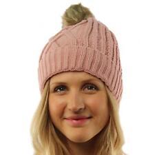 Ladies Soft Sherpa Lining Thick Knit Faux Fur Pom Pom Beanie Ski Hat Cap Pink