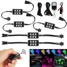 Car Motorcycle Strip RGB LED Glow Light Kit Remote Control Multi Color 12V 6SMD