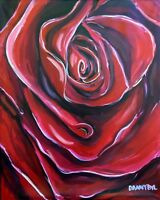 Red Rose Original Art PAINTING DAN BYL Investment Collector Flower huge 5ftx 4ft