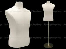 Adult Male White Leather Covered Torso Shirt Form Mannequin with Metal Base