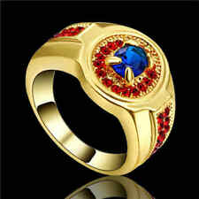 Size 8 Blue Sapphire&red Engagement Ring 10KT yellow Gold Filled Men/Womens Gift