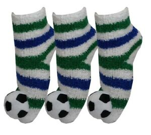 Boys 3 pairs Fluffy Stripe Football Socks with 3D Footy Toes Deal Bargain Offer