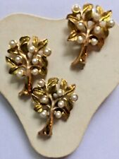 Tree Tack Scatter Pins Set 3 Lot Brooch Faux Pearl Vintage Gold Tone Lapel