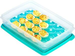 Deviled Egg Tray Carrier with Lid, Holder for 24 Eggs