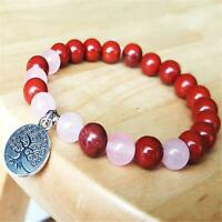 8mm Natural Red Jasper Handmade Mala Bracelet Meditation Healing Wrist Cuff