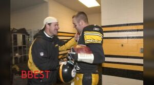 BEN ROETHLISBERGER STEELERS COLOR 8X10 ROOKIE YR CLINCH DIVISION W/COWHER 2004