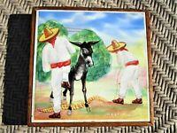 Vintage Hand Painted Folk Art Tile or Trivet signed E. Lopez Mexico