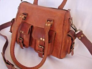 "Girl's Handmade Leather Cross-Body Summer Shopping Beach Shoulder Bag 15""inches"