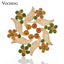 Brooch Pin Alloy Metal Vx-122 Flower Brooch Gold Scarf Pin Crystal