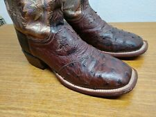 Womens 8.5 B Lucchese Brown FULL QUILL OSTRICH Square Metallic Gold Cowboy Boots