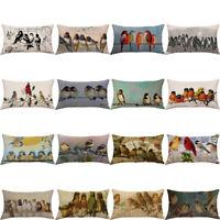Geometric Birds Pattern Linen Hug Pillow Case Sofa Cushion Cover Home Car Decor