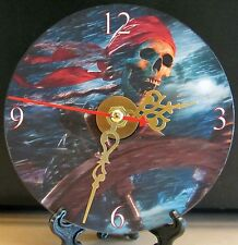 Brand New Animated Skull and Bones Sea Pirate Captain CD Clock  Nice!!