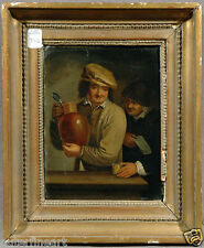 18th Century European School Oil Painting of Two Men holding a Jug