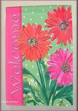 GERBERA FLOWER TRIO WELCOME GARDEN FLAG 18 by 12 INCHES FREE U.S. SHIPPING