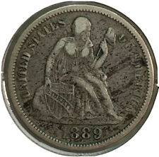 1889 Silver Seated Liberty Dime 10¢ Cent US Coin CV614